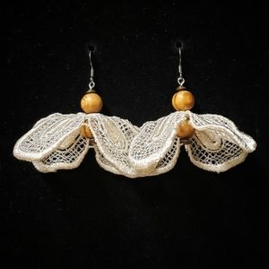 handmade floating pedals applique earrings
